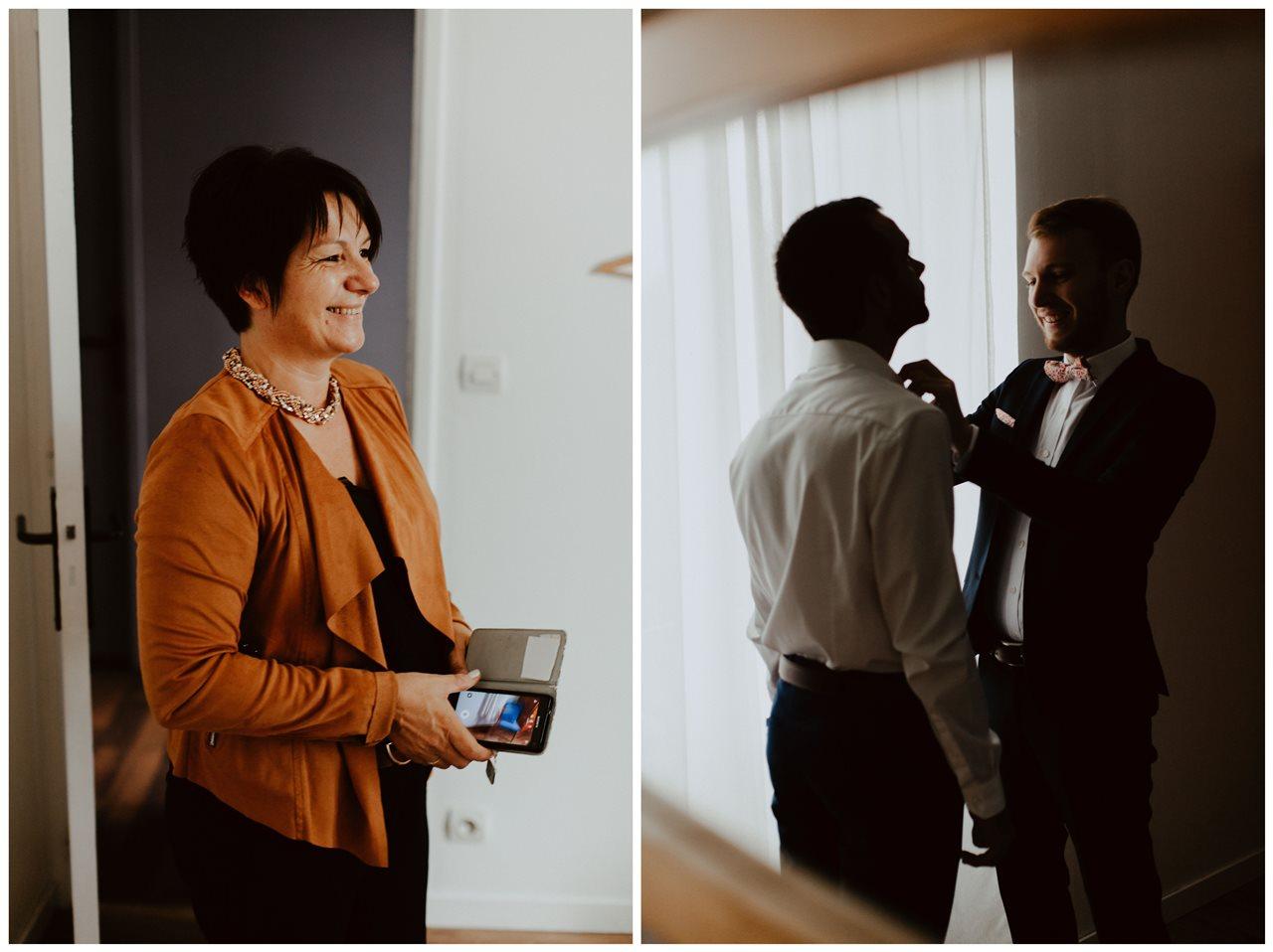 Photographie mariage préparation marié témoins et portrait mère