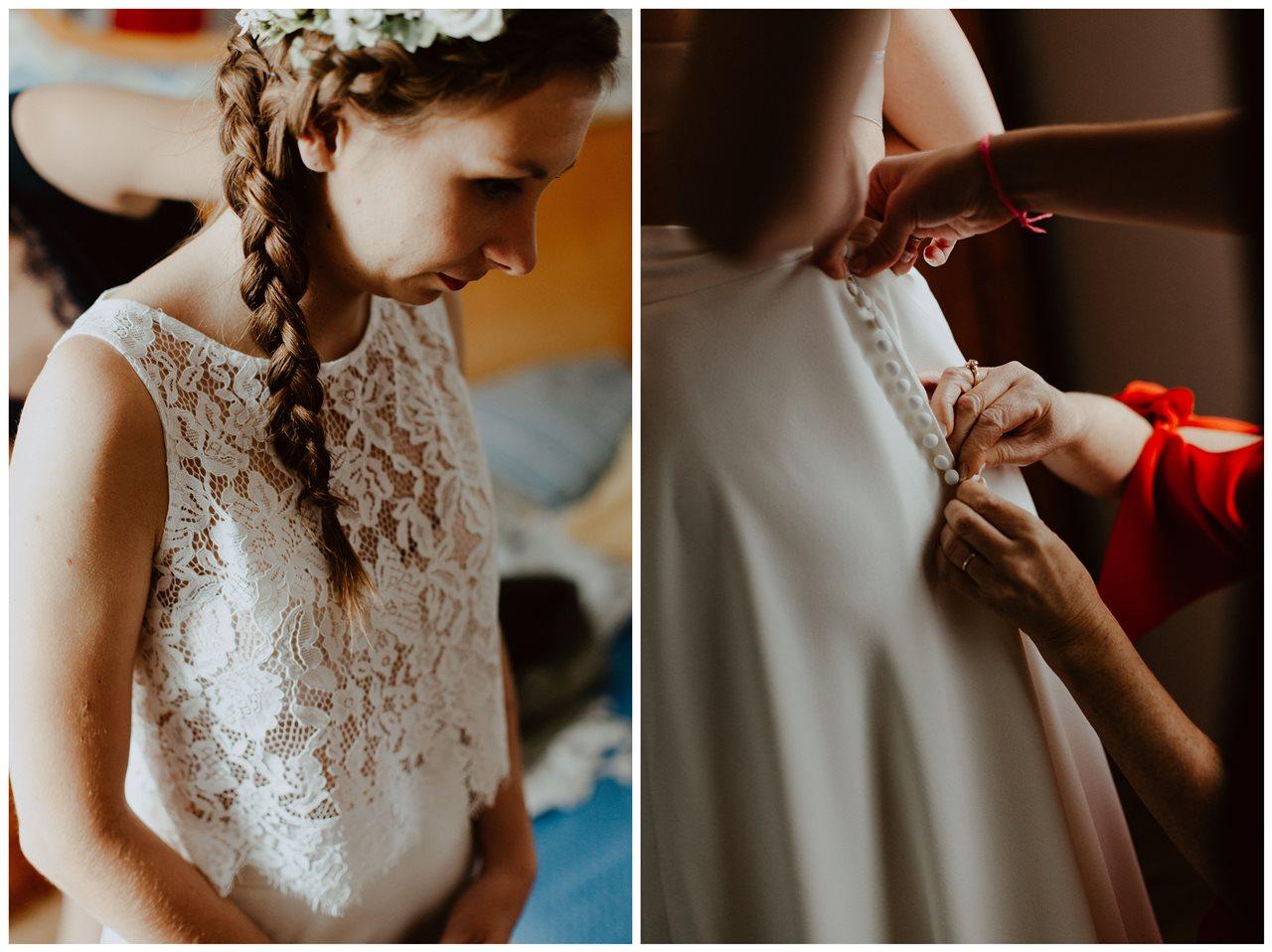 Photographie mariage préparation robe mariée détails