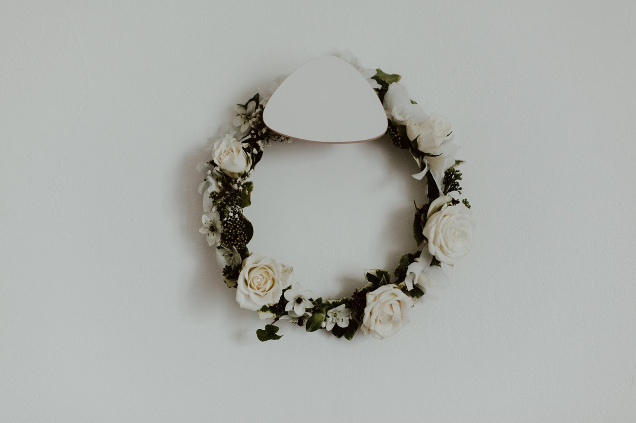 Photographie mariage couronne fleurs mariée