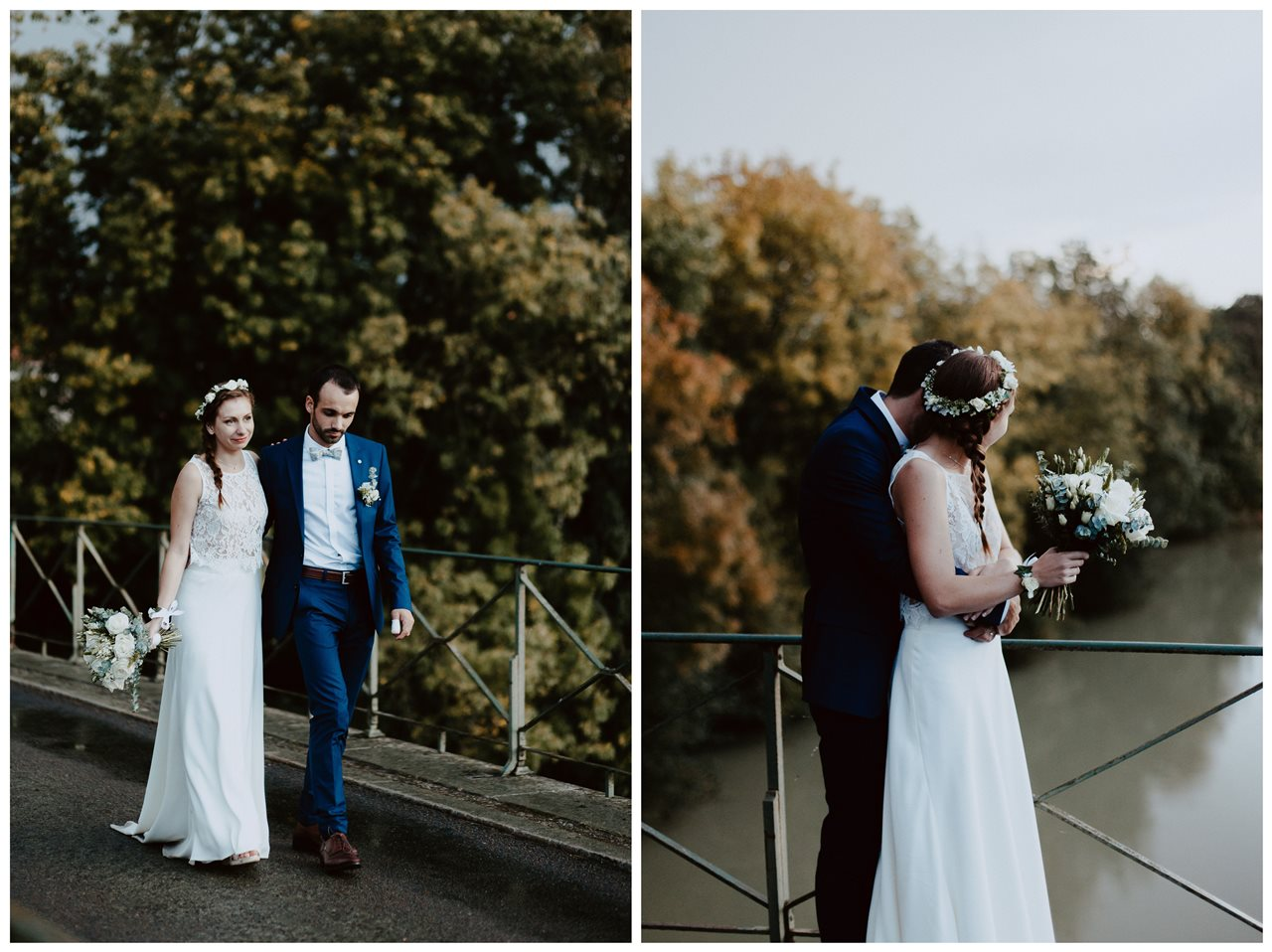 Mariage champêtre photo mariés pont