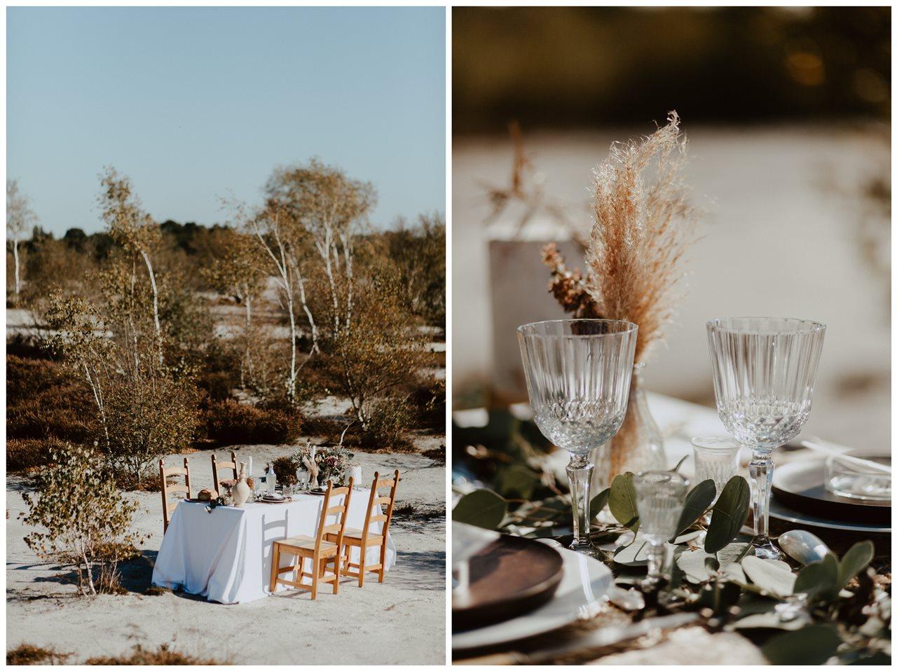 mariage nude désert table mariage détail décoration