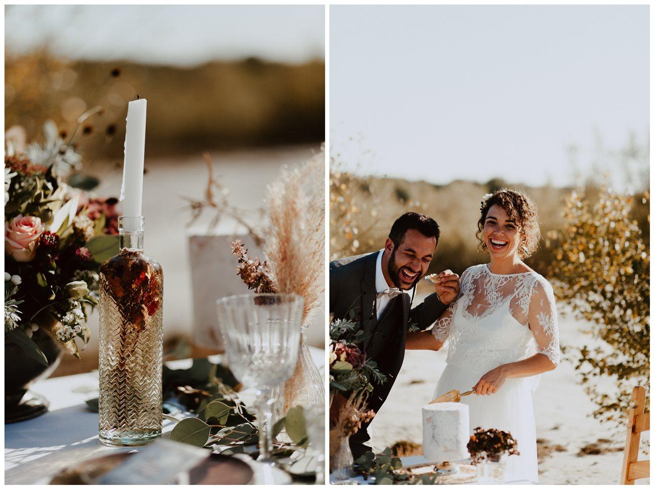 mariage nude plage fleurs mariés rires gâteau Petite Douce