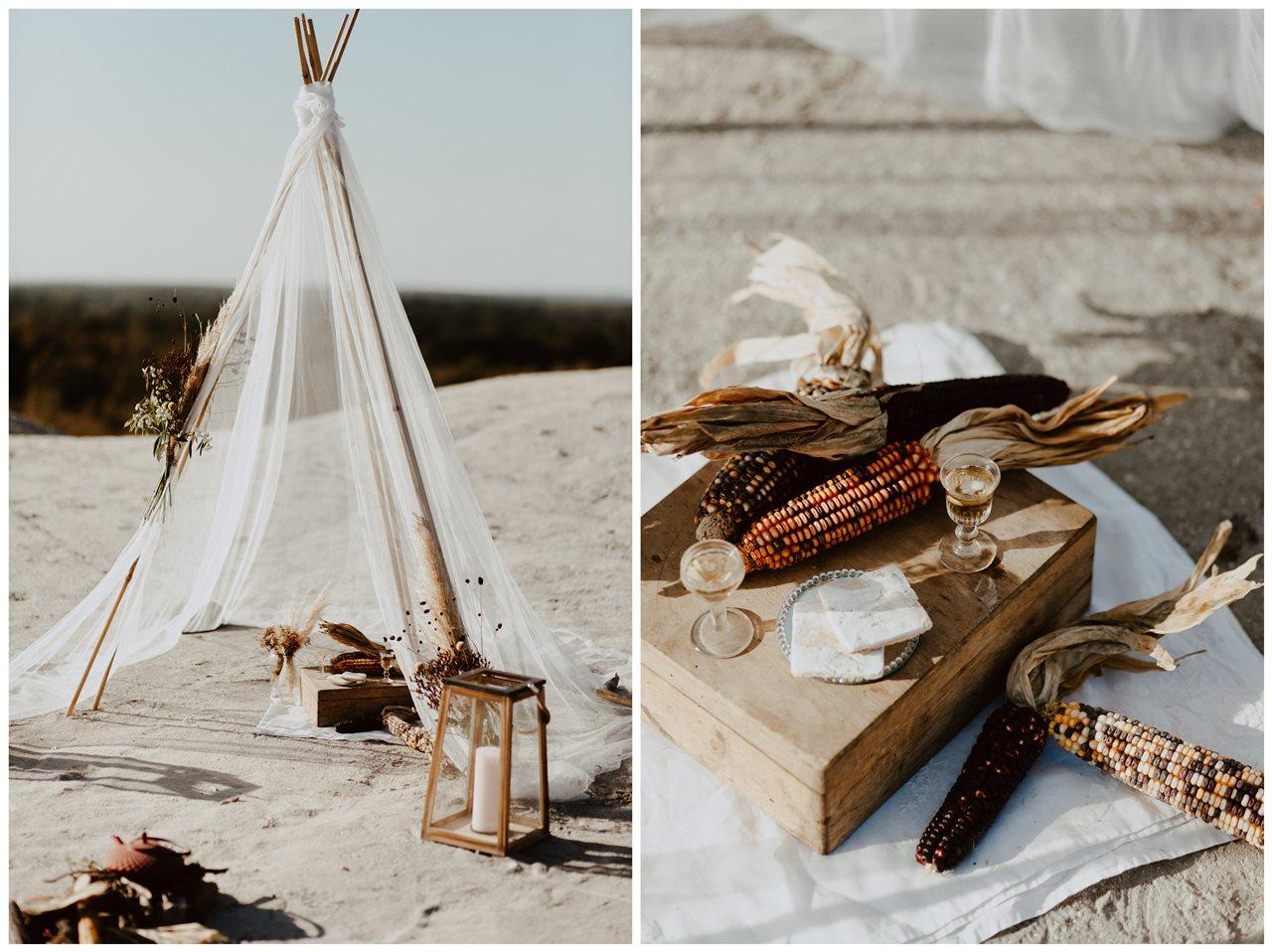 mariage nude tipi cérémonie laïque plage décoration