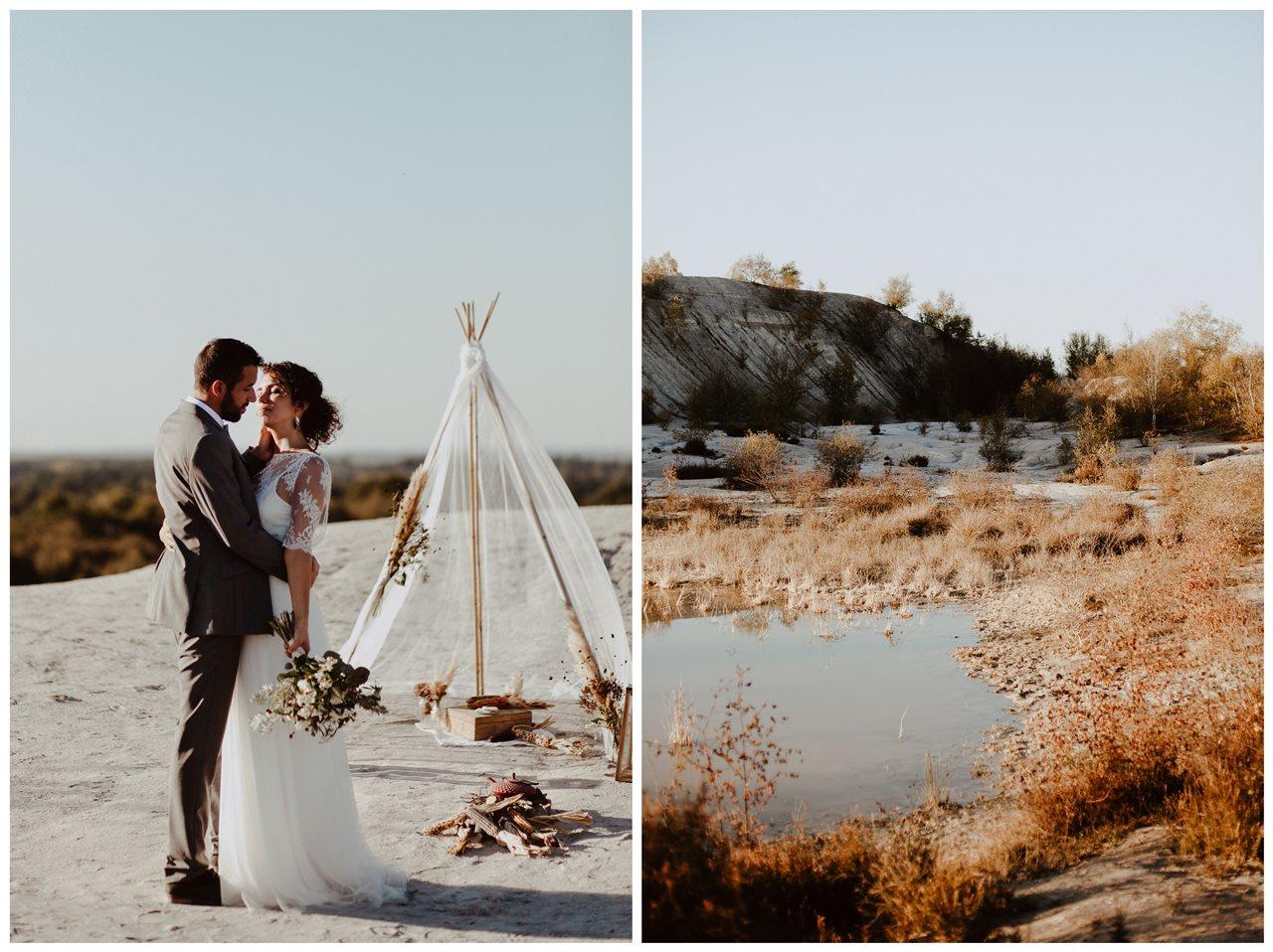 mariage nude désert bisou mariés cérémonie laïque paysage