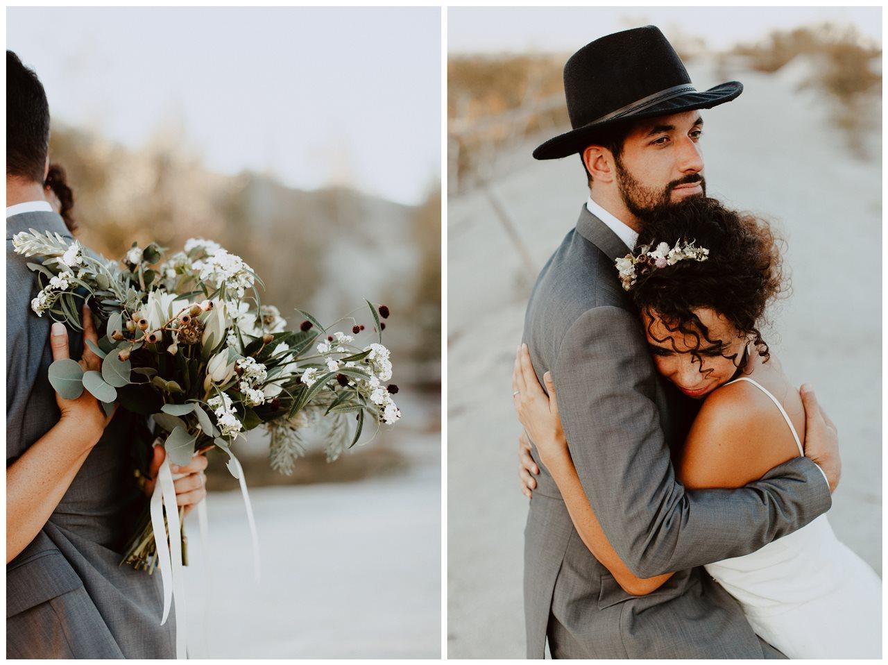 mariage nude plage portrait mariée calin fleurs mariée