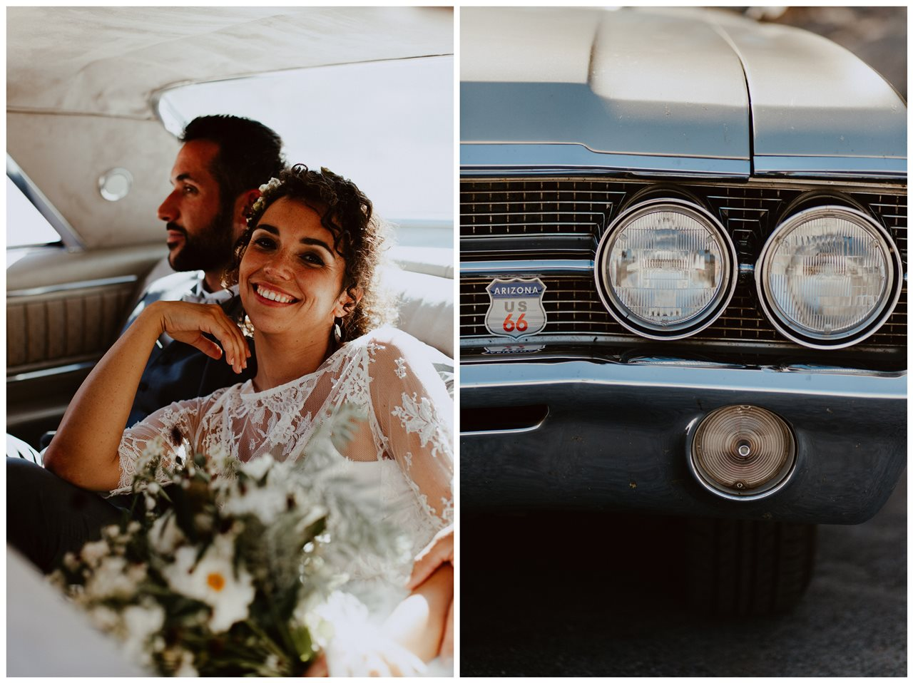 mariés dans voiture buick electra 225 détail vieille voiture
