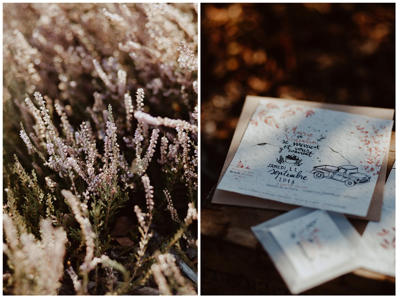 mariage nude désert papeterie invitation mariage fleurs