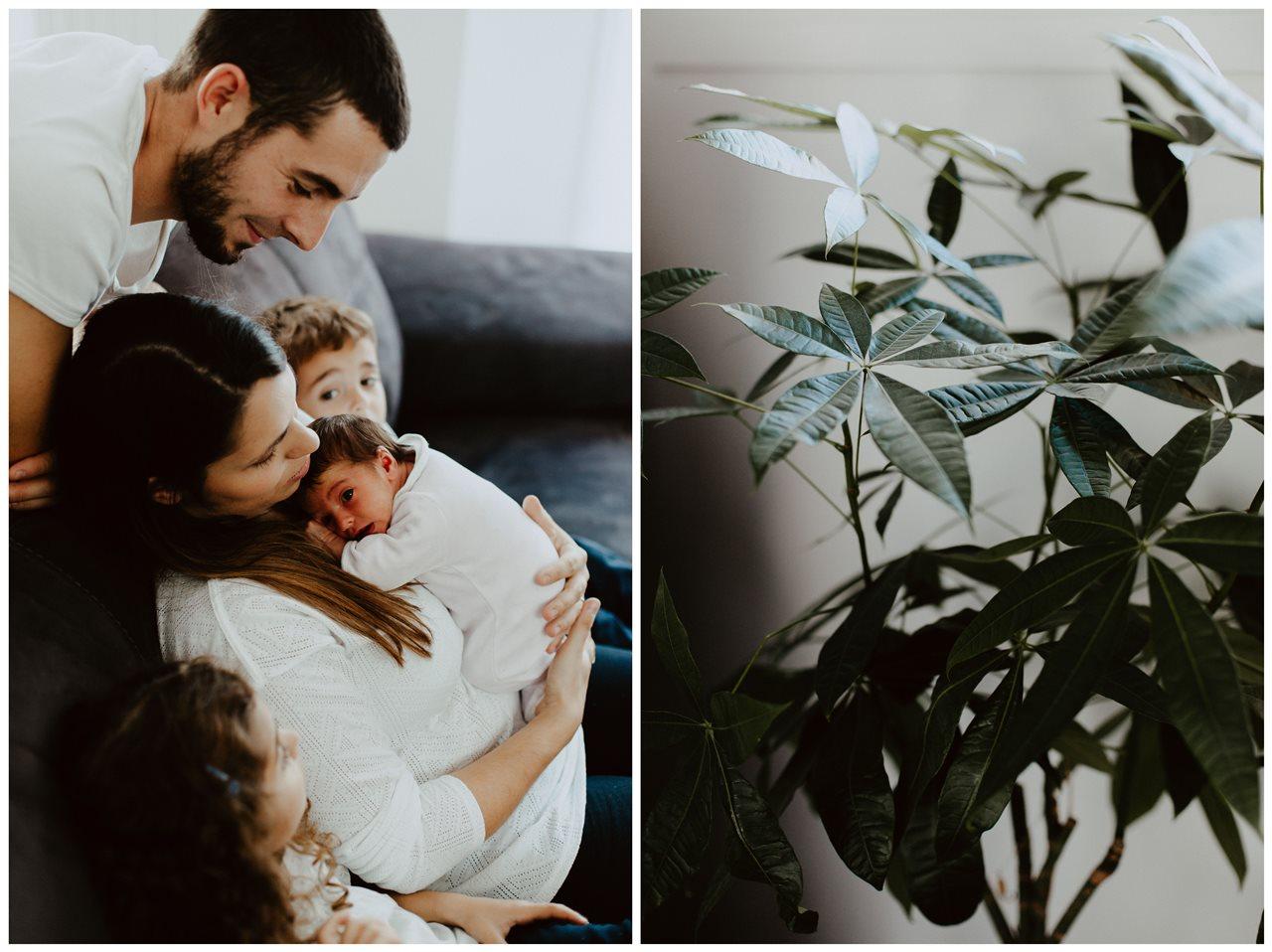 séance nouveau-né lifestyle famille canapé bébé plante