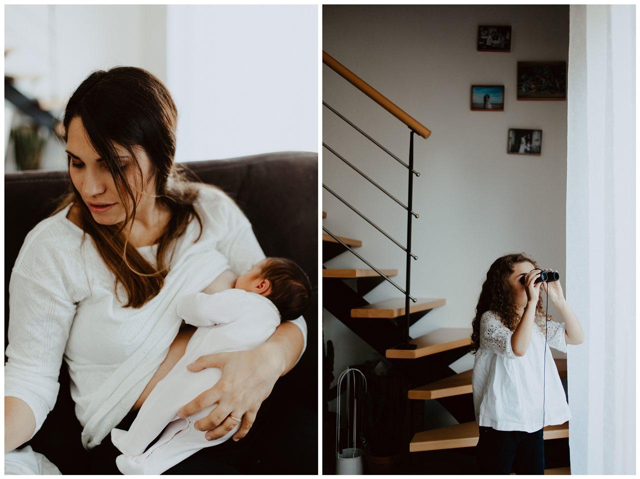 séance famille nouveau-né lifestyle maman allaitement petite fille joue