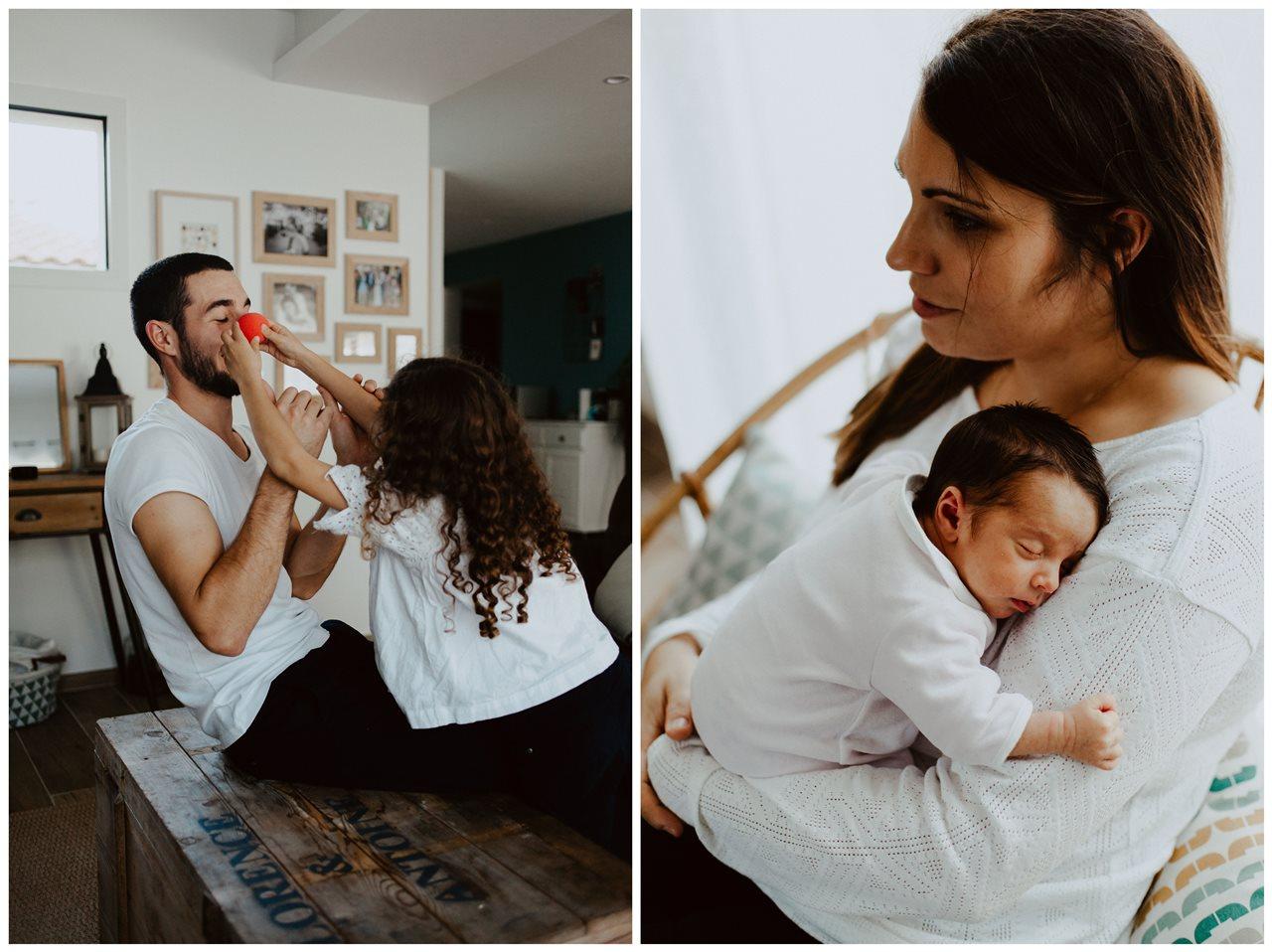 séance famille nouveau-né lifestyle jeu père et fille maman bébé