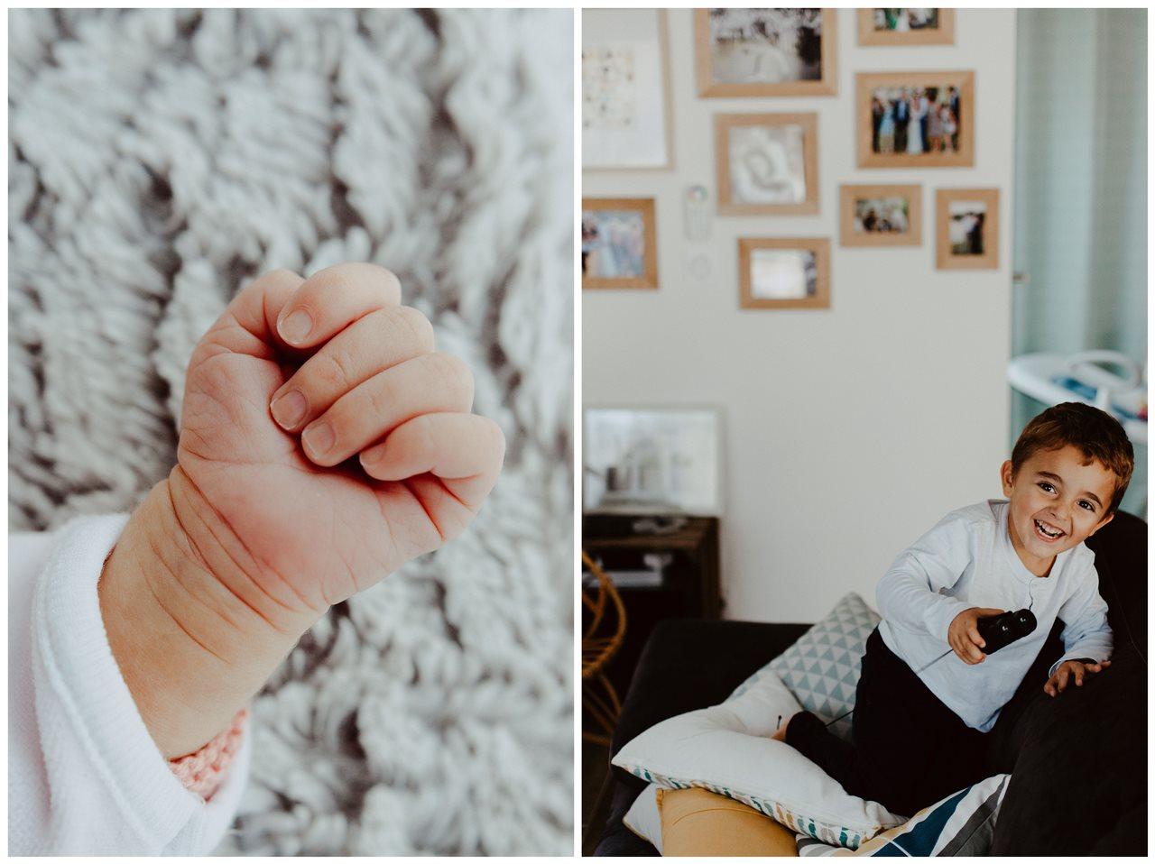 séance famille nouveau-né lifestyle détail main bébé et portrait petit garçon