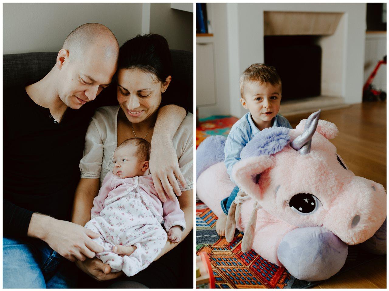 séance nouveau-né famille lifestyle portrait parents bébé et petit farçon licorne