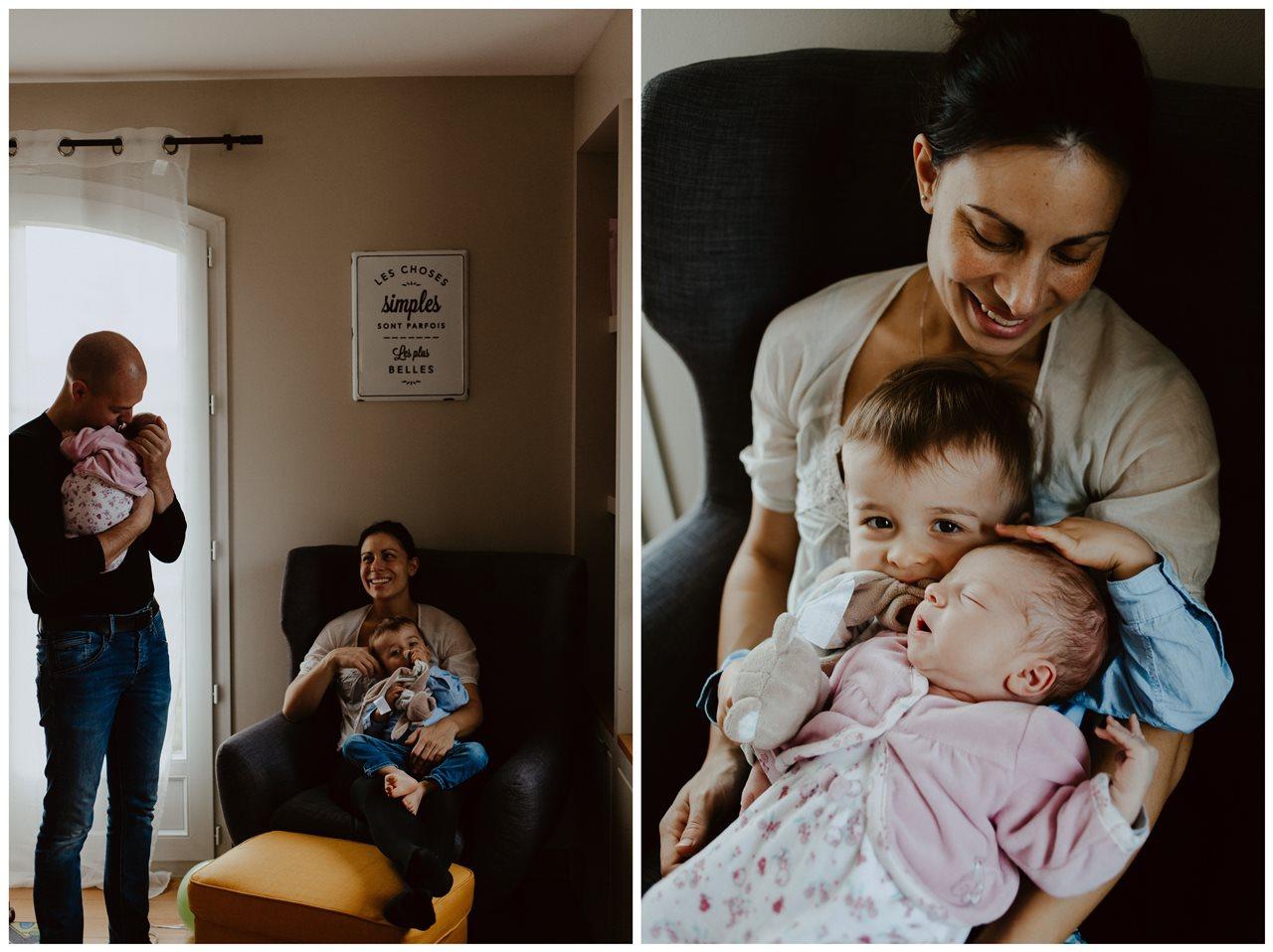 séance nouveau-né famille lifestyle portrait parents enfants frère et soeurs