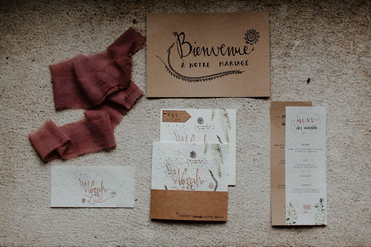 mariage folk papeterie La Cocotte En Carton papier ensemmencé