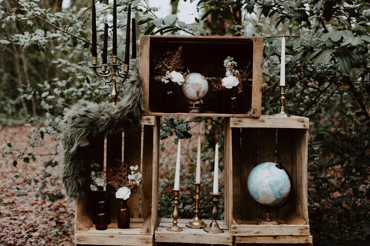 mariage boho décoration cérémonie laïque nature caisse en bois