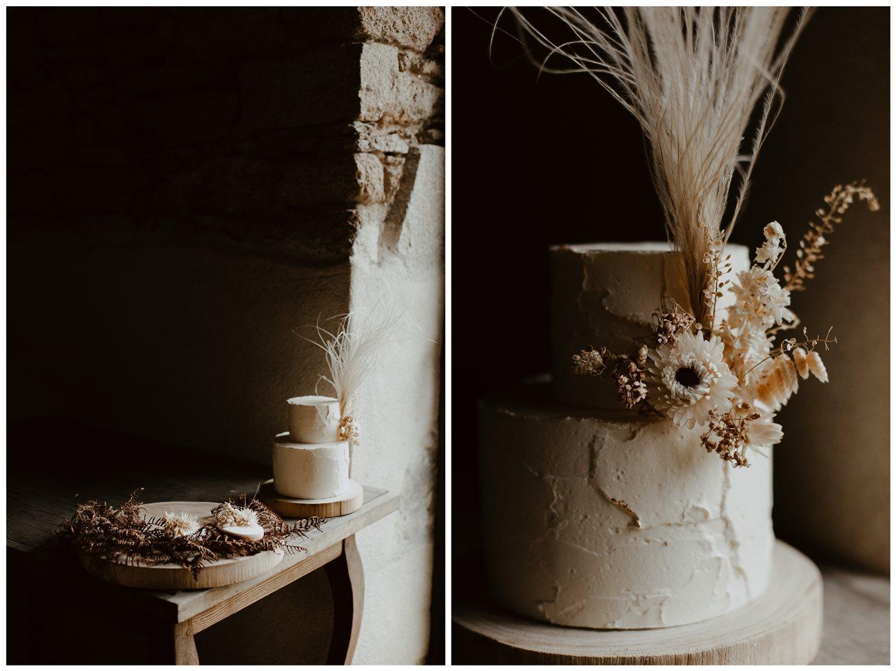 mariage bohème détails gâteau et sablés nude fleuris Petite Douce