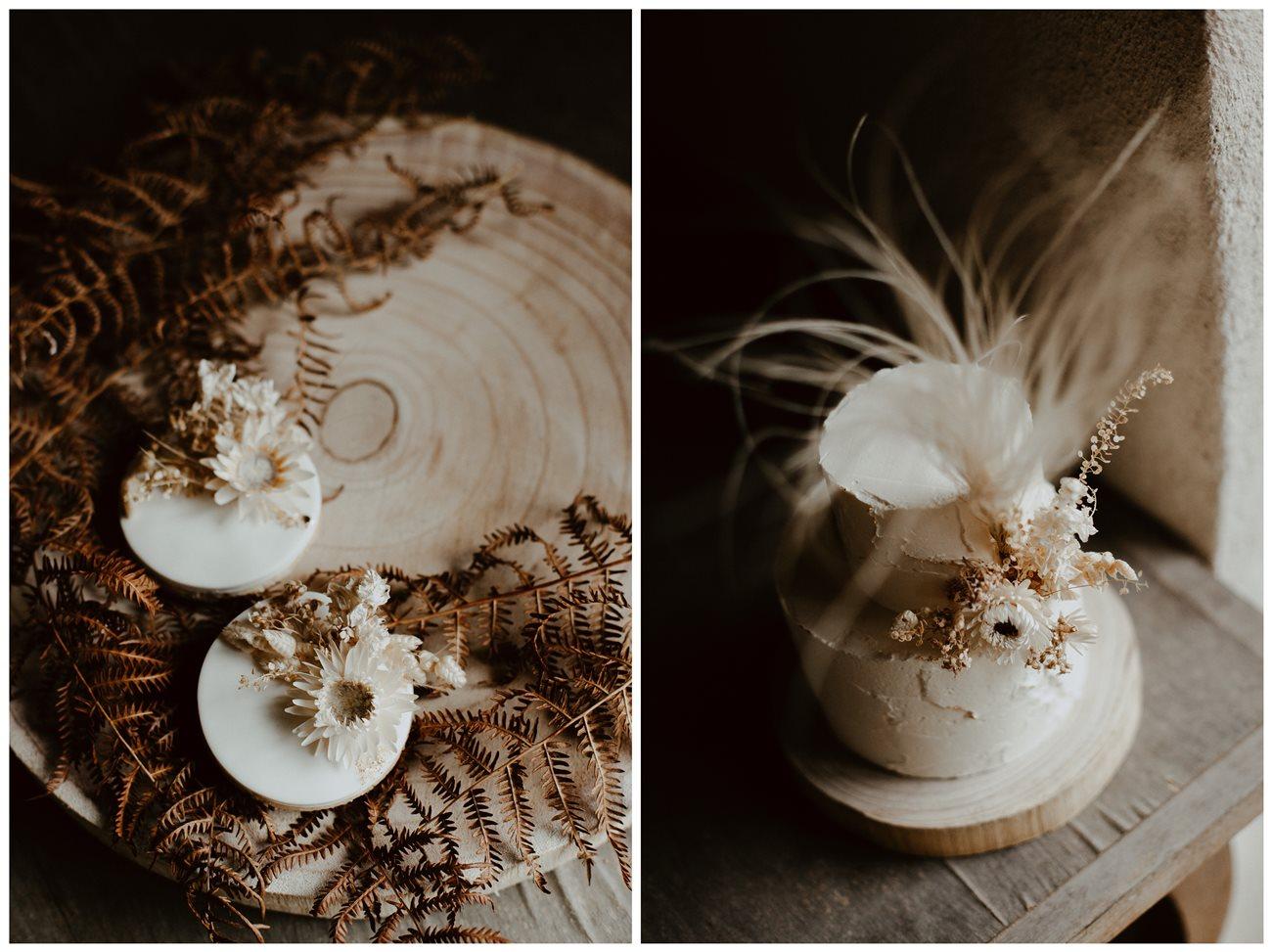 mariage bohème détails gâteau et sablés Petite Douce
