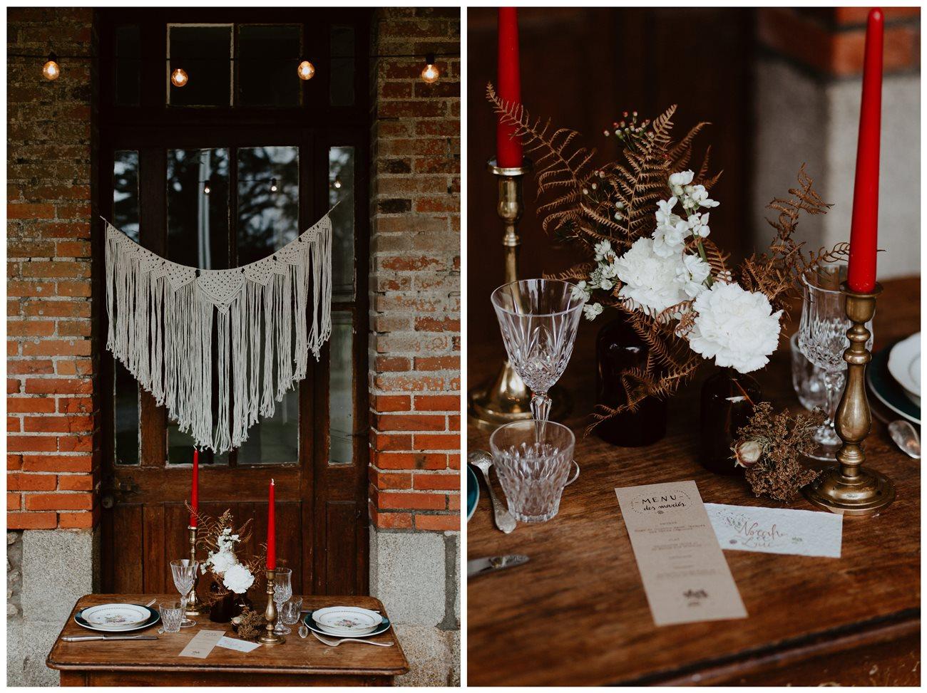 mariage bohème décoration table extérieur guirlande lumière macramé détail vaisselle