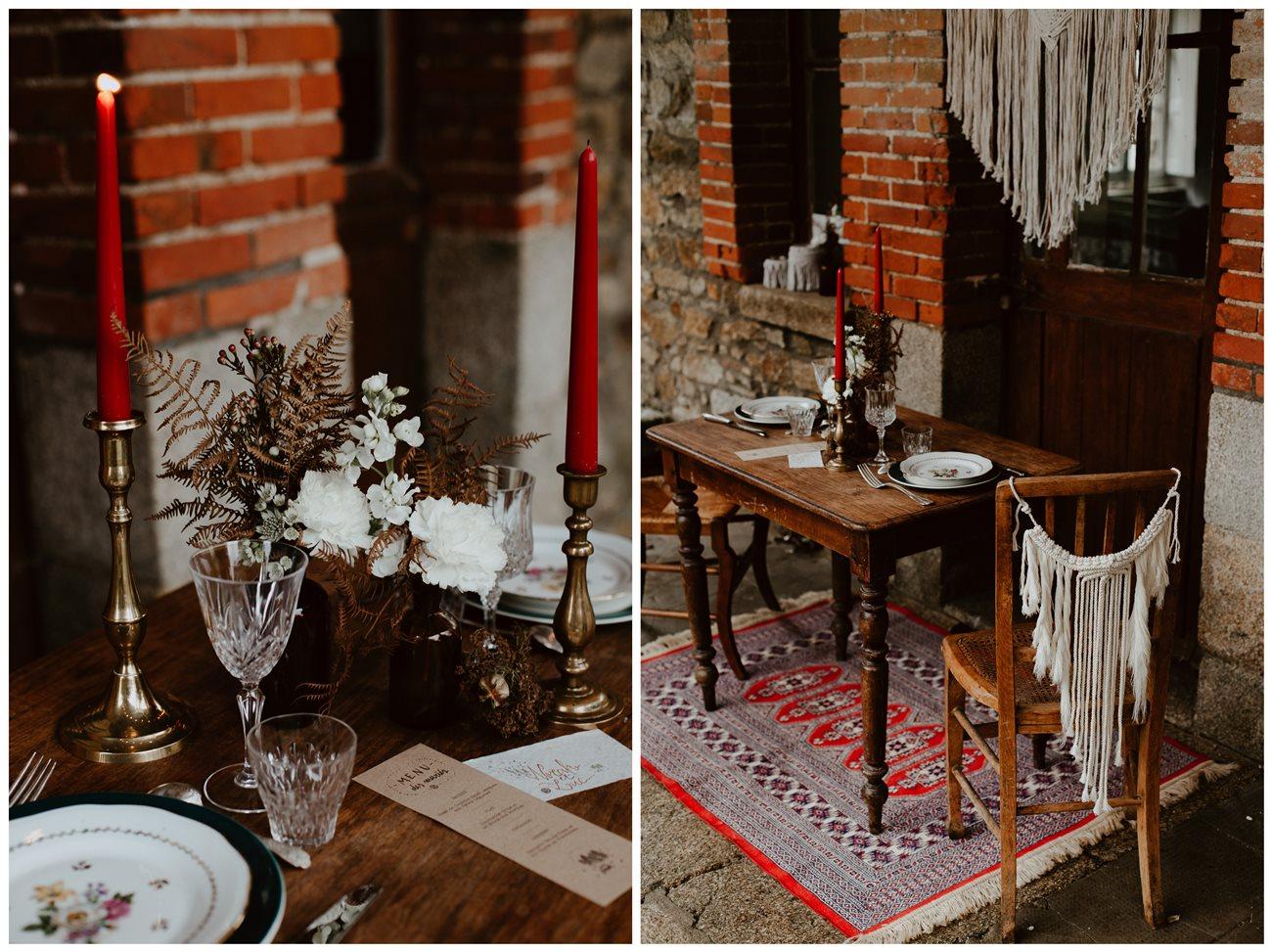 mariage bohème décoration table extérieur détails