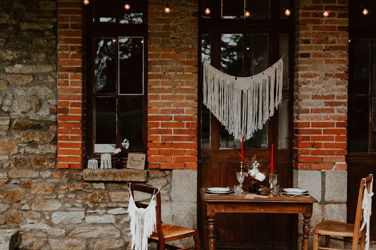 mariage bohème décoration table extérieur