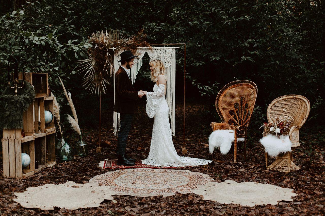 mariage bohème cérémonie laïque forêt décoration Vintage Events