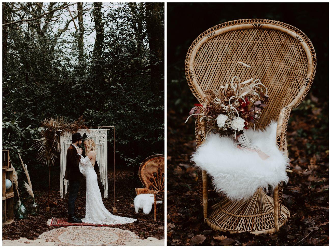 mariage bohème cérémonie laïque forêt chaise emmanuelle