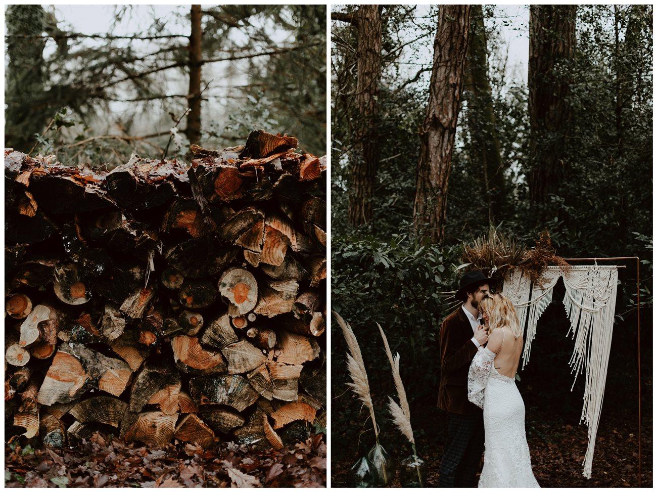 mariage bohème cérémonie laïque forêt détails troncs d'arbres