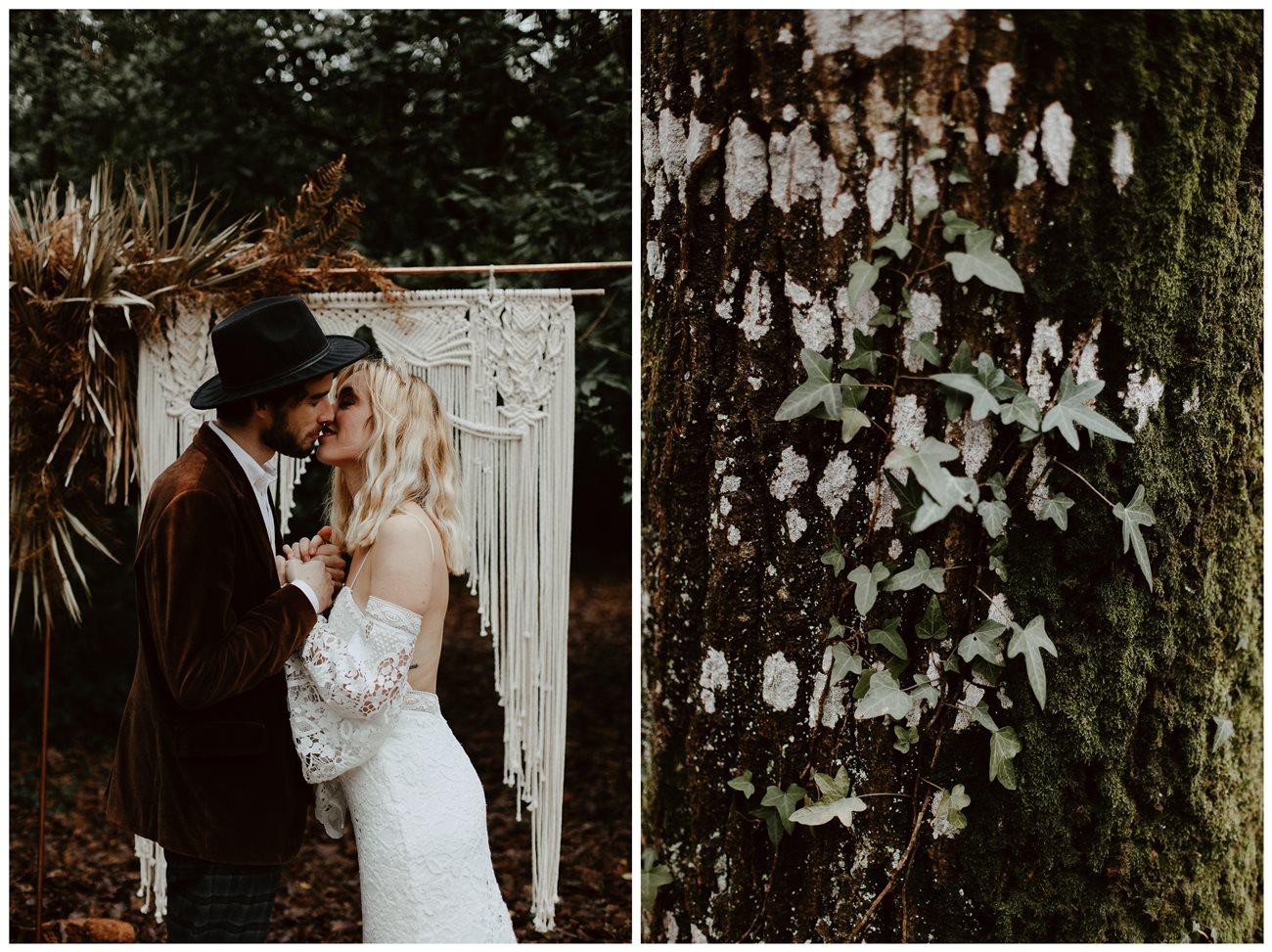 mariage bohème cérémonie laïque portrait mariés bisou détail nature