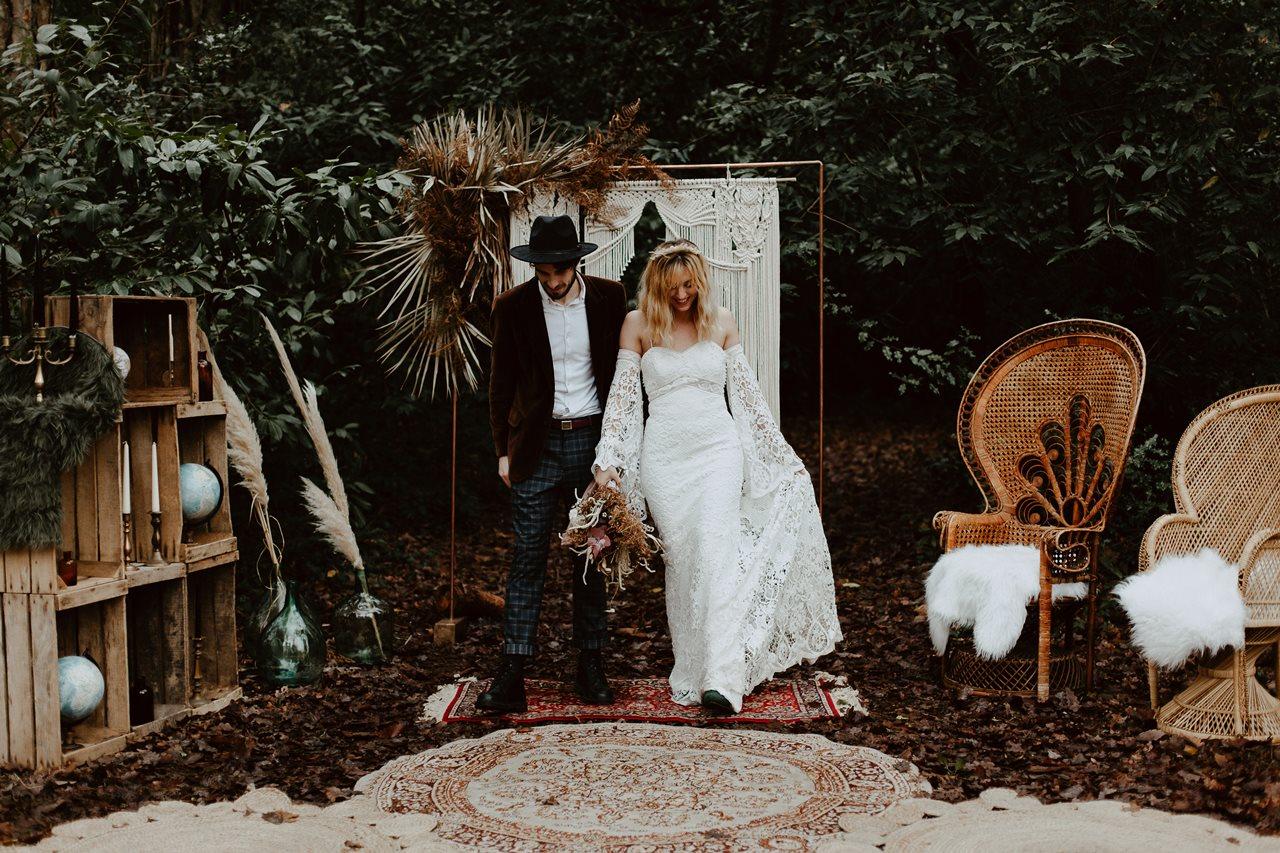mariage bohème cérémonie laïque portrait mariés