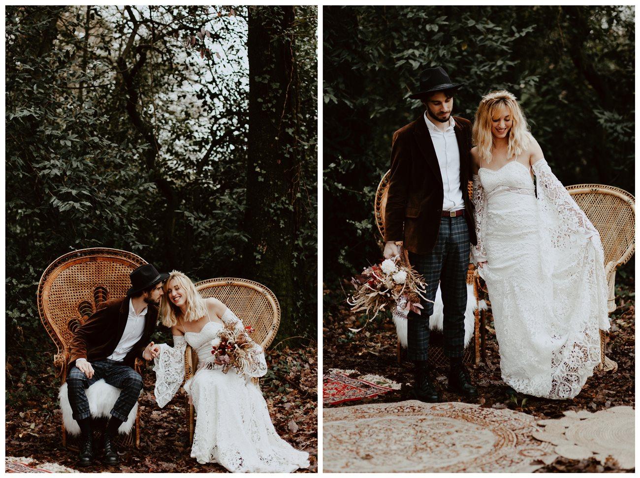 mariage bohème cérémonie laïque portrait mariés chaises emmanuelle rires