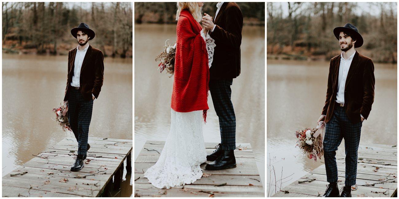 mariage folk portrait marié ponton lac