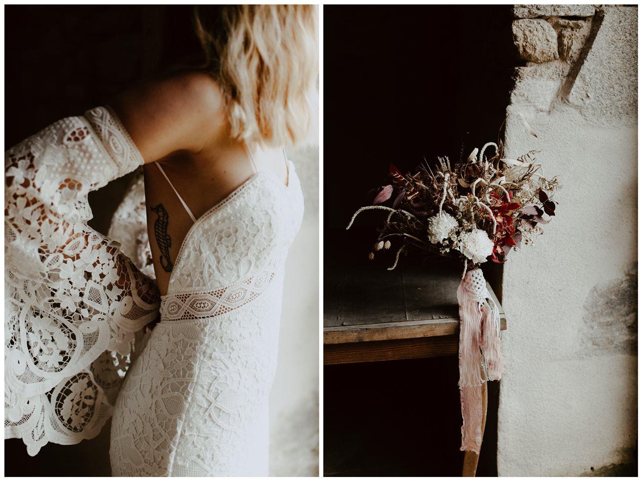 mariage folk détail robe bohème Kamelion bouquet fleurs hiver Folie Douce Flower
