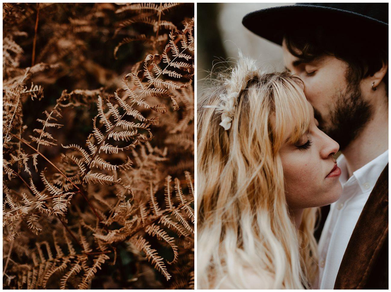 mariage folk photo couple forêt portrait mariés détail fougère