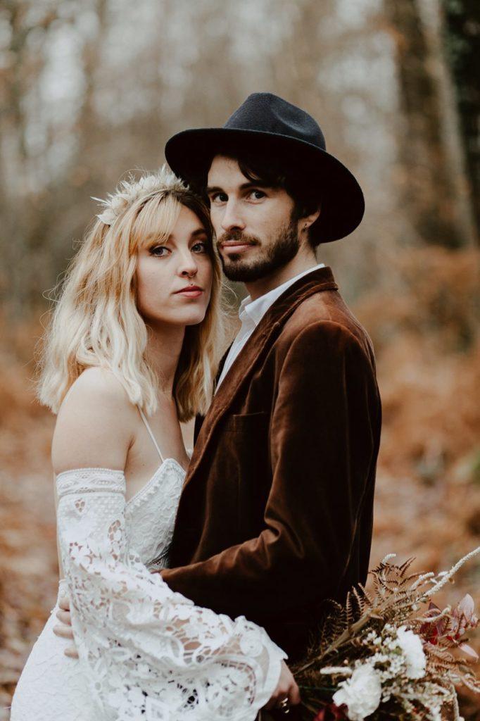 mariage folk photo couple forêt portrait mariés