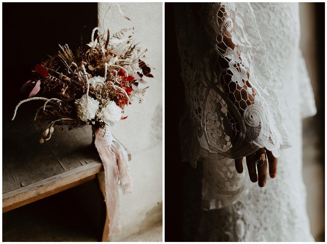 mariage bohème bouquet fleurs hiver Folie Douce Flower détail robe dentelle Kamelion