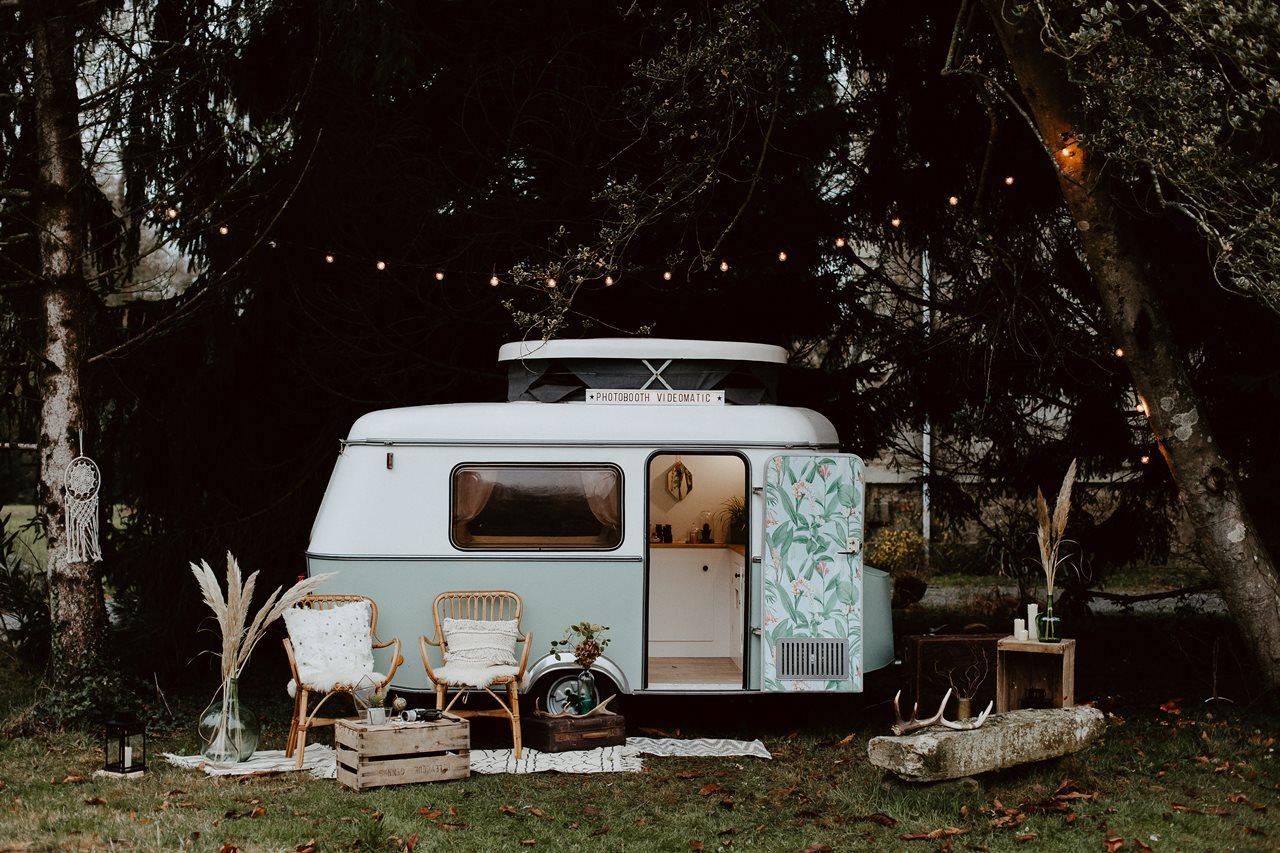 mariage bohème forêt caravane photomaton Nicephore & Co