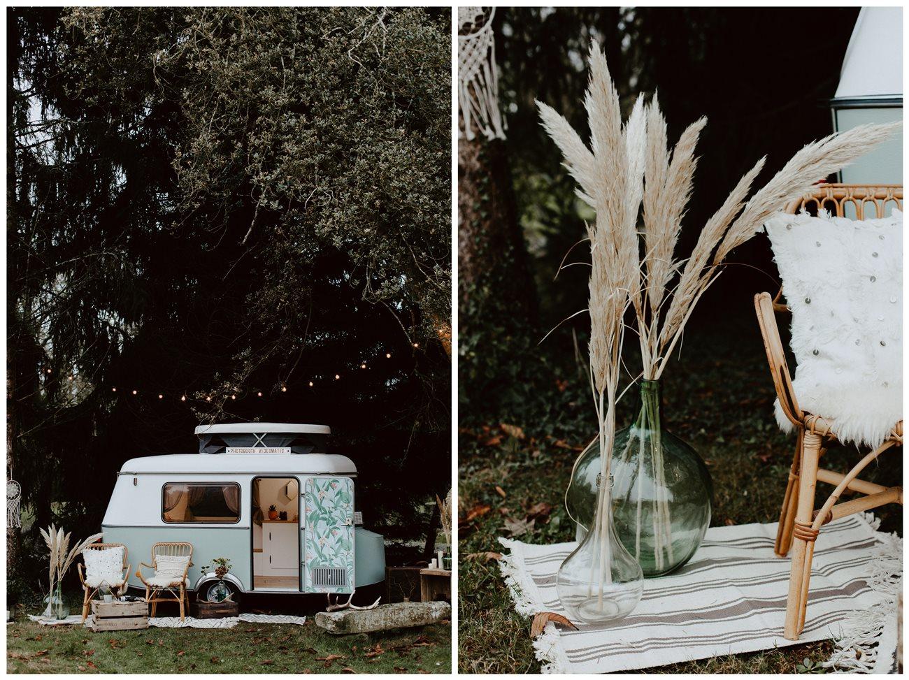 mariage bohème forêt caravane photomaton Nicephore & Co détail