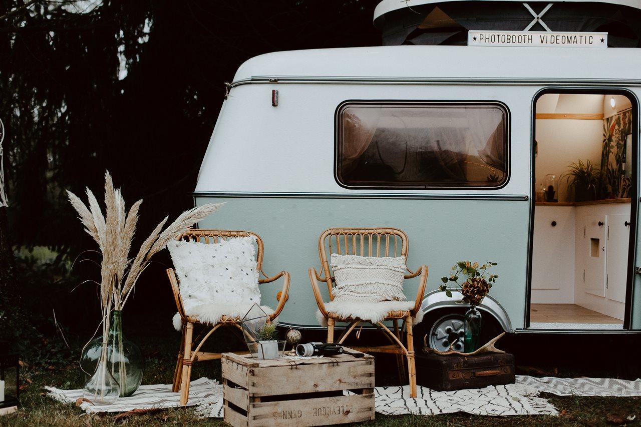 mariage bohème forêt caravane photomaton Nicephore & Co décoration