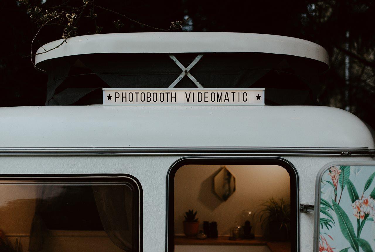 mariage bohème forêt caravane photobooth Nicephore & Co détail
