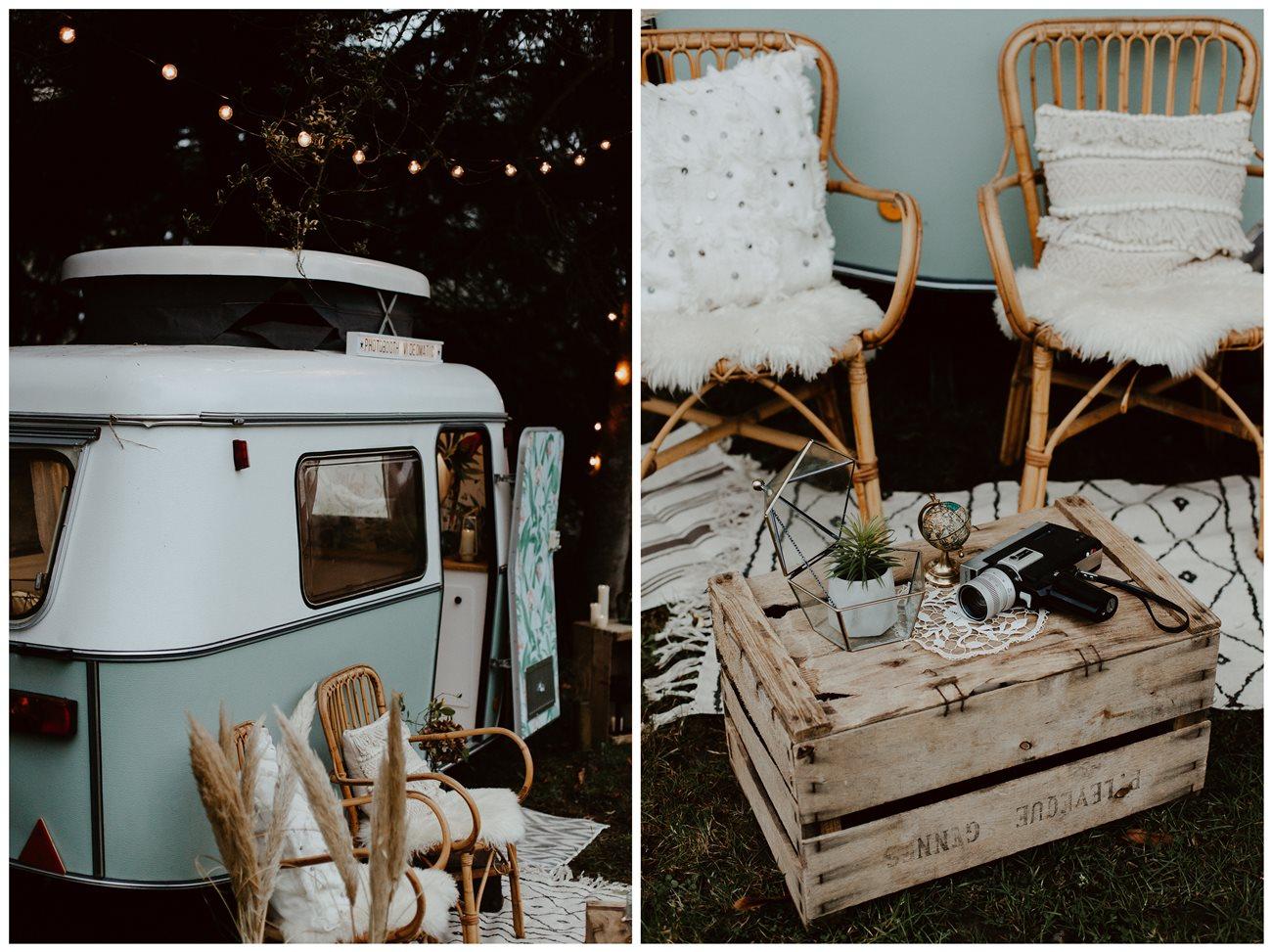 mariage bohème forêt caravane photobooth Nicephore & Co détails décoration