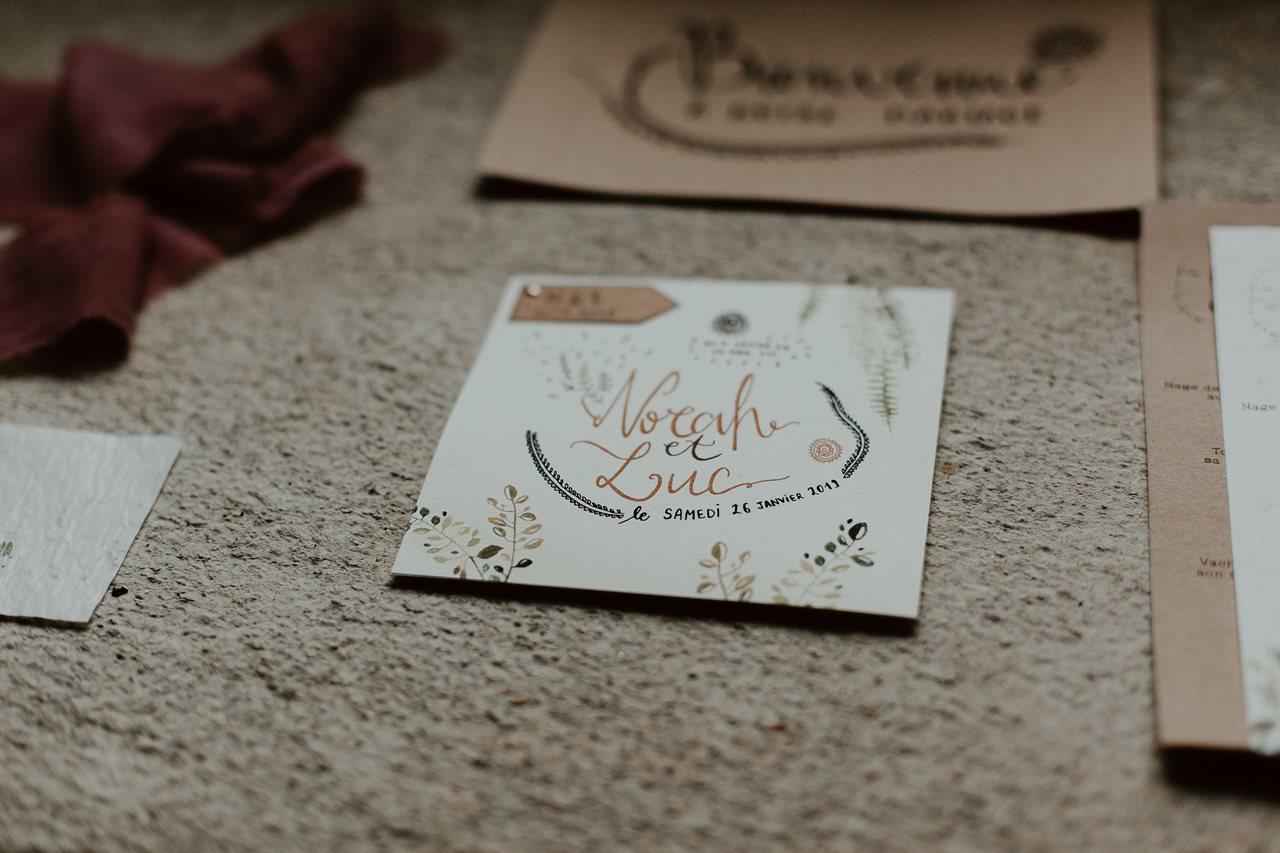 mariage folk détail papeterie La Cocotte En Carton