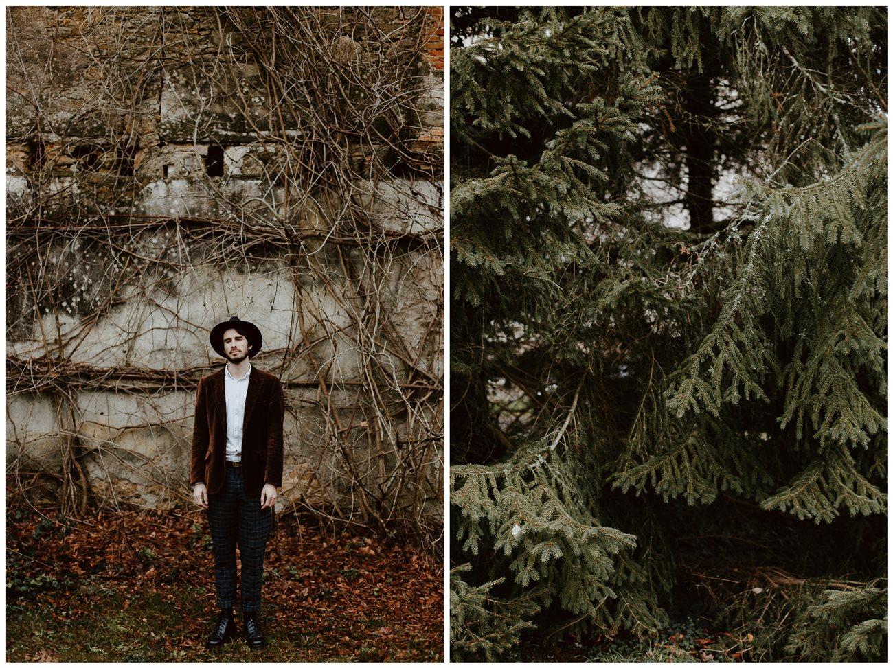 mariage folk préparation marié chapeau portrait végétation
