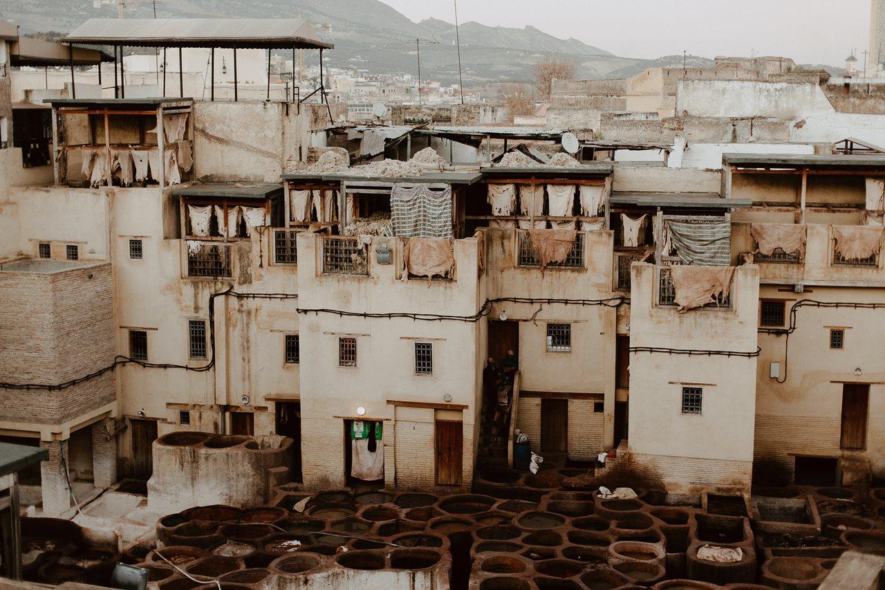 tanneries et toits de fès au maroc