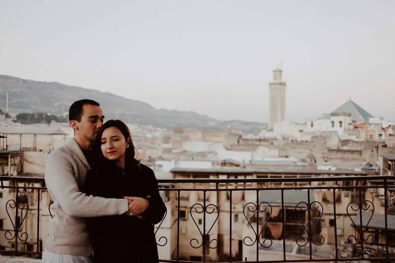 séance couple maroc vue tannerie de fès
