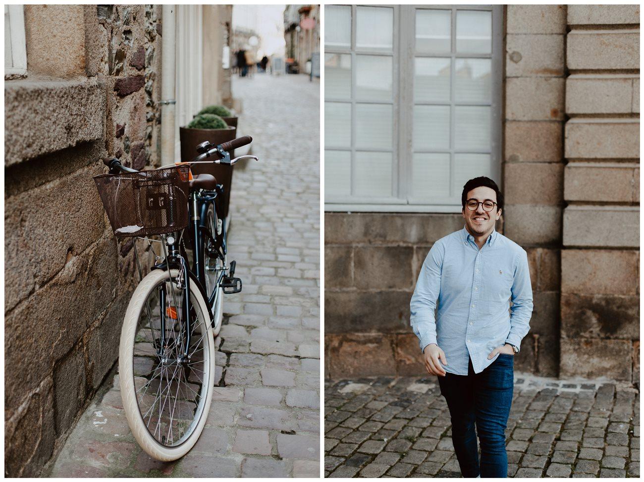 seance engagement portrait homme Renes vélo