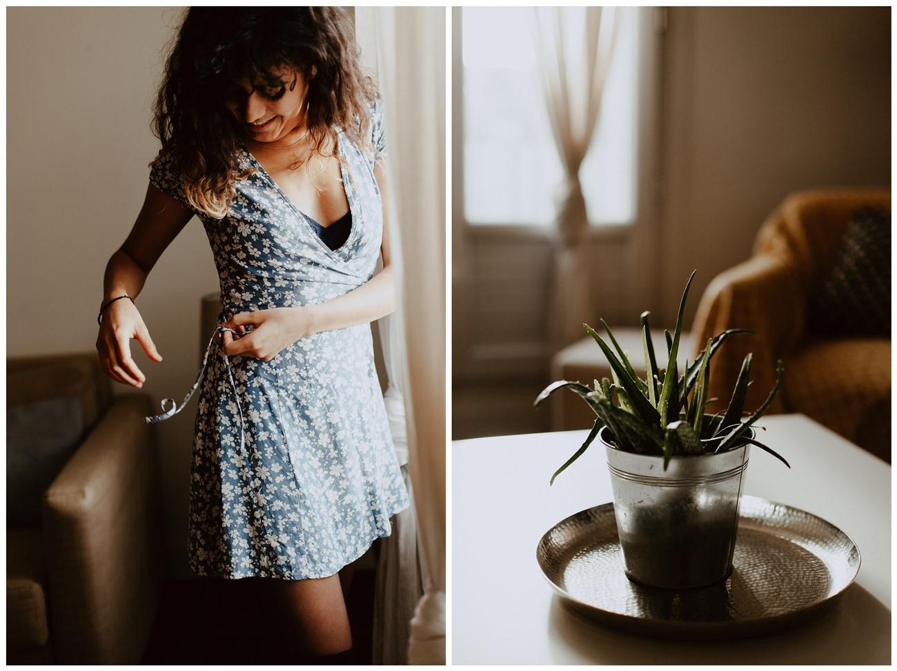 séance portrait intimiste intérieur femme mouvement robe plante
