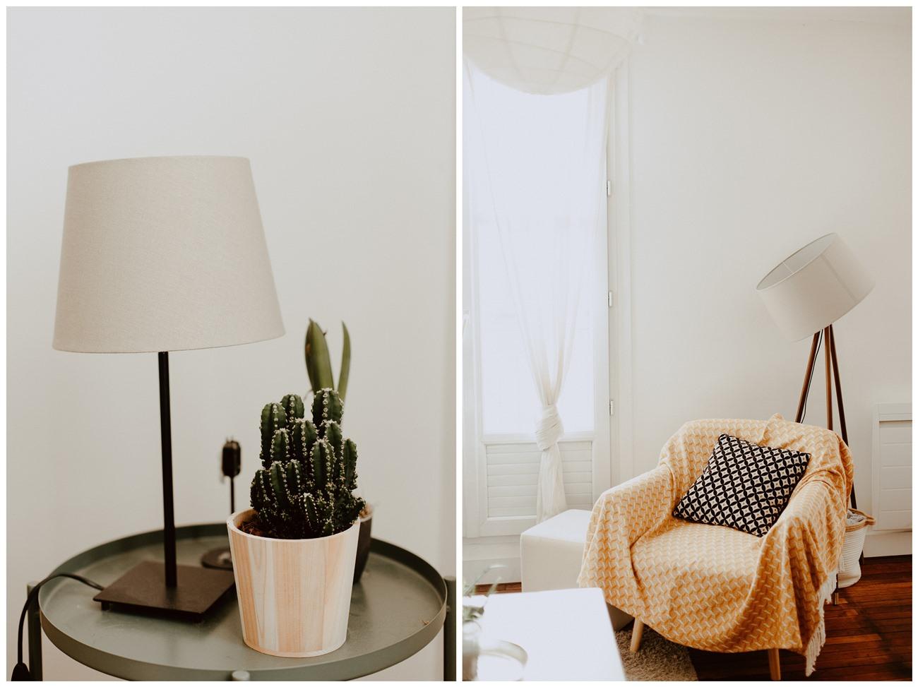 séance portrait intimiste intérieur déco lampes plante fauteuil