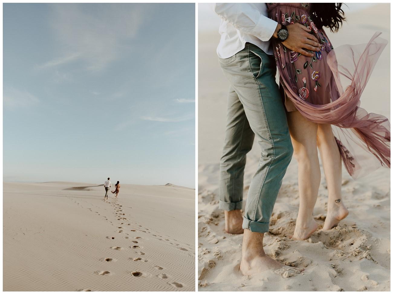 séance couple dune du pilat amoureux courent sable détails traces pieds nus