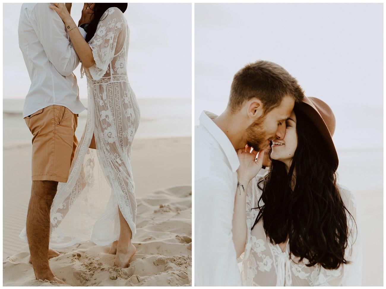 séance couple dune du Pilat calin bisou amoureux