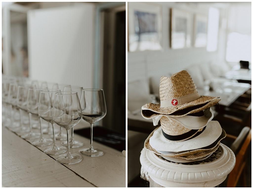 Détails bar Les Bains du Nau verre cocktail chapeau été